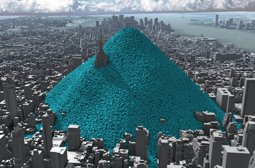 New York City's daily carbon dioxide emissions as one-tonne spheres